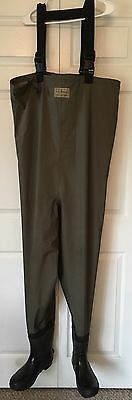 LL BEAN CHEST WADERS Mens MEDIUM Boot Size 9 GREEN Fly Fishing