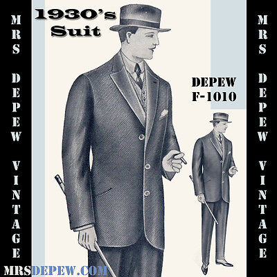 Vintage Sewing Pattern 1930's Mens' Suit Coat and Trousers Any Size Depew #F1010
