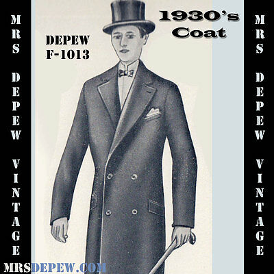 Vintage Sewing Pattern 1930's Mens' Double Breasted Coat Any Size Depew #F1013