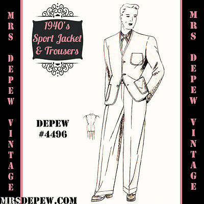 Vintage Sewing Pattern 1940's Men's Jacket and Trousers Any Size Depew #4496