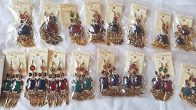 Joblot 32 pairs Metal antique style  dangly Earrings - New Wholesale