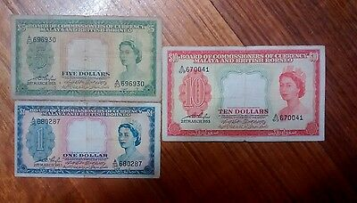 1953 Malaya British Borneo Notes. Set of 3 notes