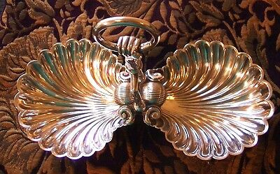 ANTIQUE VICTORIAN Silver Double Shell Appetizer Serving Dish Fish Feet FIGURAL