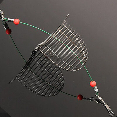1pc Small Bait Cage Fishing Trap Basket Feeder Holder Stainless Steel Wire Chic
