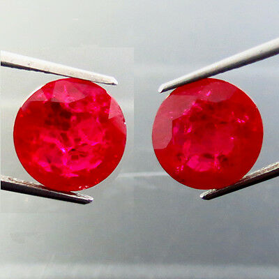 18.40 ct Lab Created Awesome Pigeon Blood Red Ruby Chathum Round Pair Loose Gems