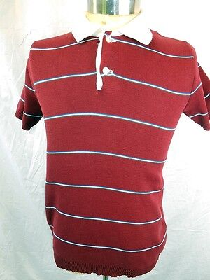 Vintage 1960s 70s Burgundy Striped Soft Polyester Cotton 'Unique' Polo Shirt M