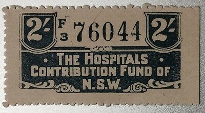 New South Wales RARE 2/- Hospital Contribution Fund Revenue Duty - Beautiful!