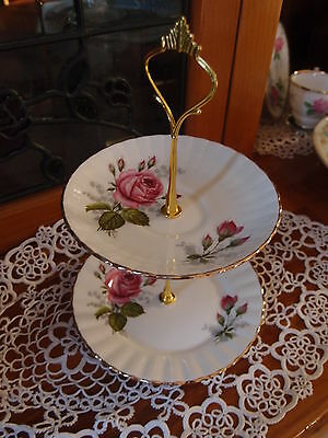 2 Tier Cake  Biscuit Plate Stand Royal Stafford pink roses