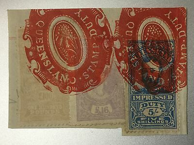 Queensland RARE £100 + £16 + 5/- x 3 Reins on one piece Impressed Revenue Duty