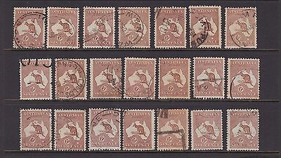 Australia Kangaroo 6D Chestnut 3Rd Wmk Used Lot X21 Stamps Used (Ch2)