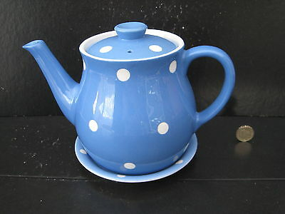 Very Rare Vintage T G Green Blue Domino Large Teapot And Stand
