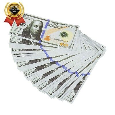 Realistic Double Sided Prop Money - Set of 100 $100 Dollar Bills $10,000 with Or