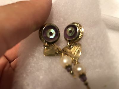TABRA INLAID-EYE-14K GF EARRINGS! Wow!! SIGNED! Abalone, Amethyst & Pearls!