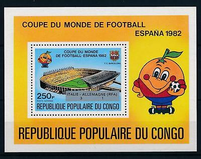 [59516] Congo Brazzaville 1982 World Cup Soccer Spain Ovp silver MNH Sheet