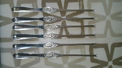 6 Silver Plated Lobster Picks Scoop (Ep)  18-8 By Mena Gab Quality Scandinavian