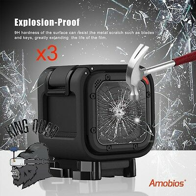 Amobios GoPro 4 Session & Hero 5 Session Tempered Glass Screen Protectors x3