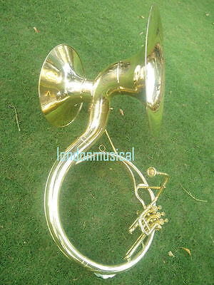 """Sousaphone (Tuba) Shinning Brass Double Horn 22"""" & 17"""" Bb 3V With Bag M/Piece"""