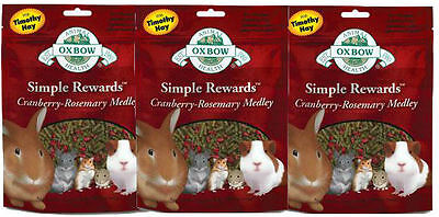 Oxbow SIMPLE REWARDS Treats Rabbits Guinea Pig Chinchilla CRANBERRY 2.5oz 3 PACK