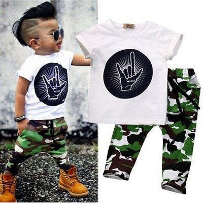 AU Baby Toddler Boys Short Sleeve T-shirt Tops+Camouflage Pants Outfits Sets