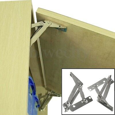 4x 80° Sprung Hinges Cabinet Door Lift Up Stay Flap Top Support Cupboard Kitchen