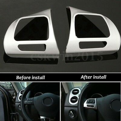 For VW Golf MK6 Jetta Passat B7 CC Steering Wheel Chrome Insert Cover Badge Trim