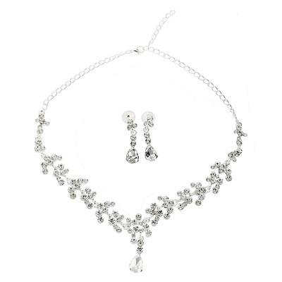 Chic Bridal Rhinestone Crystal Necklace Pierced Earrings Plated Jewelry Set PK
