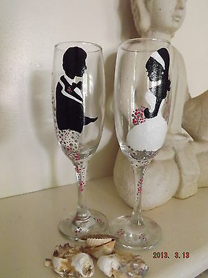 Personalised Wedding Wine glasses X 2.Hand painted Silhouettes/bride & Groom