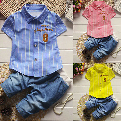 2PCS Toddler Kids Baby Boy Shirt Tops+Jeans Pants Formal Party Outfit Clothes UK