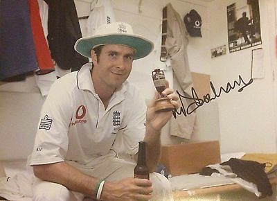 "Michael Vaughan Hand Signed 16x12"" England Cricket Photo AFTAL COA The Ashes"