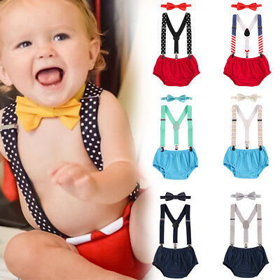 Baby Toddler Boy Outfit Suspenders Shorts Bottoms Romper Bowtie First Cake Smash