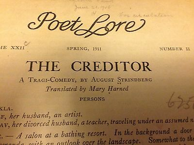 The Creditor 1911  August Strindberg Play.  Rare copy