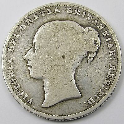 QUEEN VICTORIA YOUNG HEAD SILVER ONE SHILLING COIN dated 1865