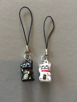 Two Cute Good Fortune Asian wavin Cat Charms With Bells Phone Or Bag Accessories