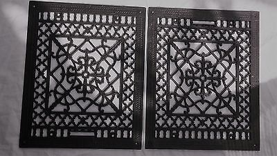 Pair Victorian cast iron heat grates