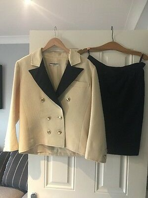 Vintage YSL, Navy And Cream Skirt Suit, EU 42