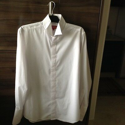 Men's wing collar dress shirt, new, white, Colin Ross, double cuff, size 16.5