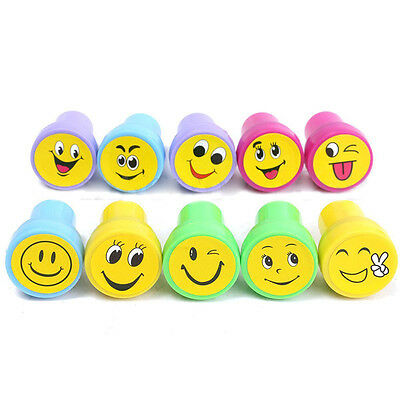 10Pcs Emoji Smile Silly Face Stamps Set Stationery For Kids Party Loot Bag E3C6