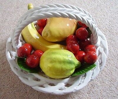 Majolica-pottery Italy  big FRUIT plate-dish-basket