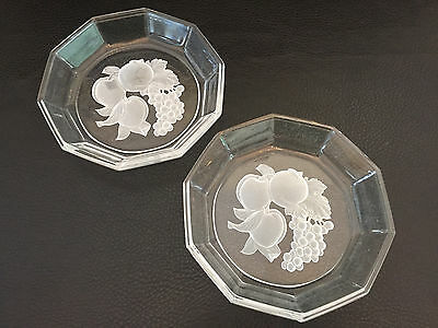 2 Antique clear glass bowls, frosted Intaglio design 1890's