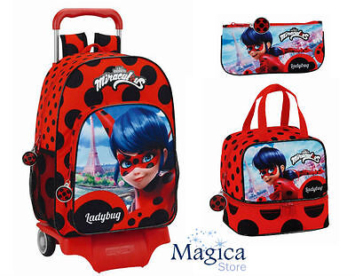 Ladybug backpack Trolley 42cm + pencil case+  lunch bag Non-thermal