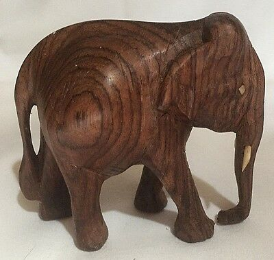 """Small 3.5"""" Wooden Carved Elephant-Collectible-EUC"""