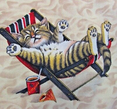 """Homemade Cat Pillow Cover Beach Kitties Double Sided Zipper Square 16.5 x 16.5"""""""