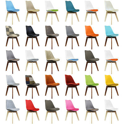 DSW Tulip Style Plastic Side Dining Chair with Wooden SQUARE Legs! Scandi Style