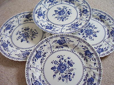 Johnson Bros England Blue and white porcelain plate-dish,Indies ,set of 4 pieces