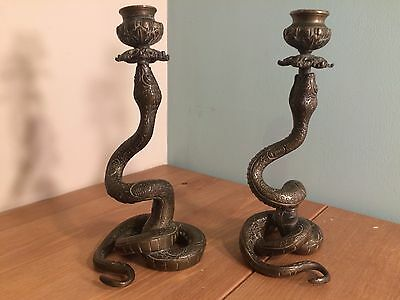 Very rare pair of brass Snake Antique Candlesticks - Country house, vintage