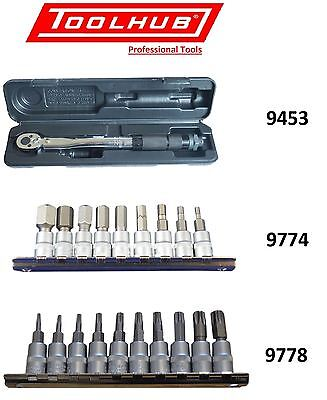 Tool Hub 9453 Torque Wrench 2-24Nm or 9774 or 9778 Socket Bit Set 1/4 Hex & Torx