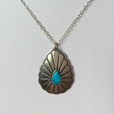 Vintage Native Amaerican Navajo Silver & Turquoise Concho Style Pendant Necklace