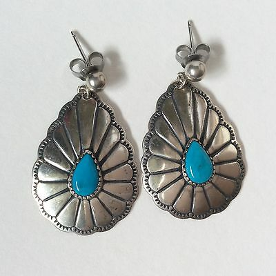 Vintage Native Amaerican Navajo Silver & Turquoise Concho Style Earrings