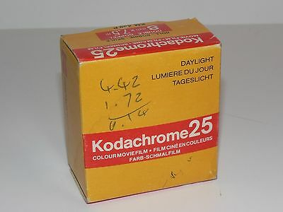 Vintage KODACHROME 25 Color Movie FILM New Sealed Double Roll 8mm x7.5m 12/1980