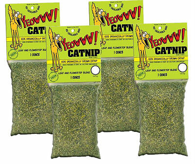 YEOWWW! 100% Organic Leaf & Flower Catnip Packet For Cats & Kittens 1oz 4 PACK